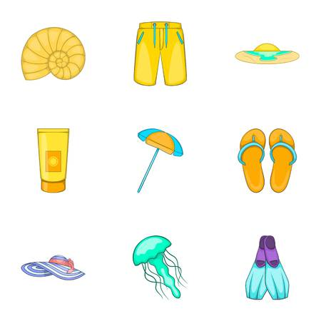 sandy: Sandy beach icons set. Cartoon illustration of 9 sandy beach vector icons for web Illustration