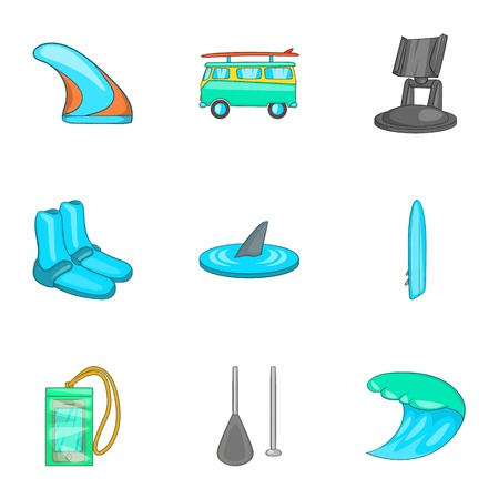surfboard fin: Swimming on surf icons set. Cartoon illustration of 9 swimming on surf vector icons for web