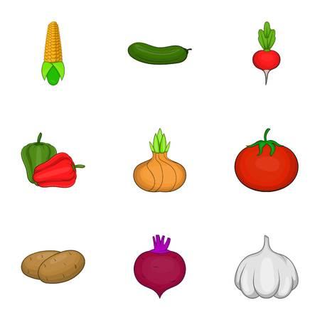 Verduras ecológicas iconos. Ilustración de dibujos animados de 9 iconos de vector vehículos ecológicos para la web Vectores