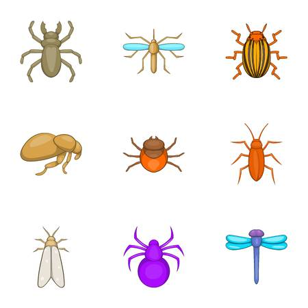 Insects icons set. Cartoon illustration of 9 insects vector icons for web