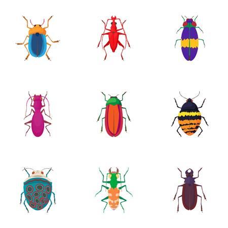 capricornio: Especies de escarabajos iconos conjunto. Ilustración de dibujos animados de 9 especies de escarabajos iconos de vectores para la web