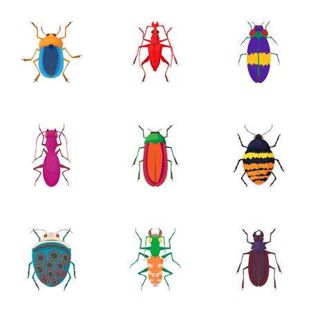 Species of beetles icons set. Cartoon illustration of 9 species of beetles vector icons for web