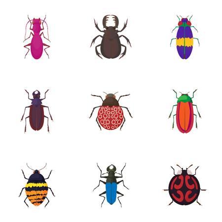 Crawling beetles icons set. Cartoon illustration of 9 crawling beetles vector icons for web