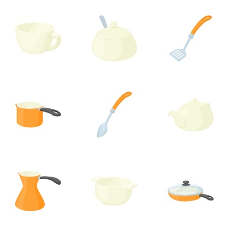 Cooking utensil icons set. Cartoon illustration of 9 cooking utensil vector icons for web