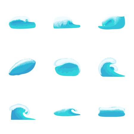Marine shaft icons set. Cartoon illustration of 9 marine shaft vector icons for web Illustration