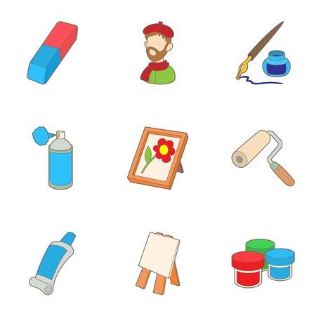 Creativity art icons set. Cartoon illustration of 9 creativity art vector icons for web