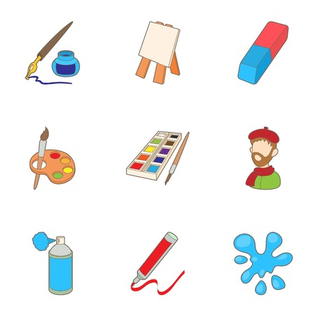 Painting icons set. Cartoon illustration of 9 painting vector icons for web Illustration