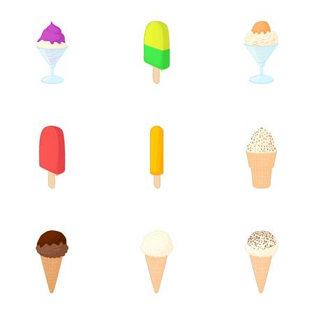 Ice cream icons set. Cartoon illustration of 9 ice cream vector icons for web