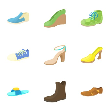 Shoes icons set. Cartoon illustration of 9 shoes vector icons for web