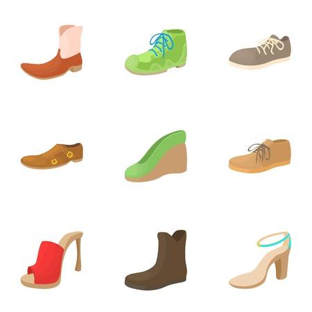 Footwear icons set. Cartoon illustration of 9 footwear vector icons for web Illustration