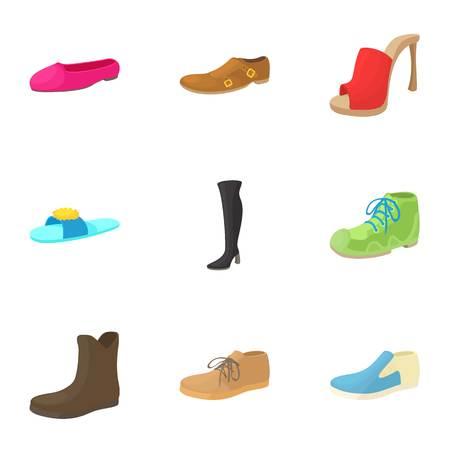 footgear: Footgear icons set. Cartoon illustration of 9 footgear vector icons for web Illustration