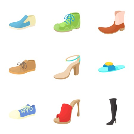kind of: Kind of shoes icons set. Cartoon illustration of 9 kind of shoes vector icons for web