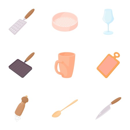 Utensils for eating icons set. Cartoon illustration of 9 utensils for eating vector icons for web Illustration