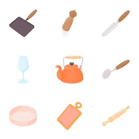 flatwares: Cooking icons set. Cartoon illustration of 9 cooking vector icons for web Illustration