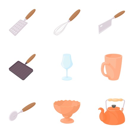 eating utensils: Eating utensils icons set. Cartoon illustration of 9 eating utensils vector icons for web