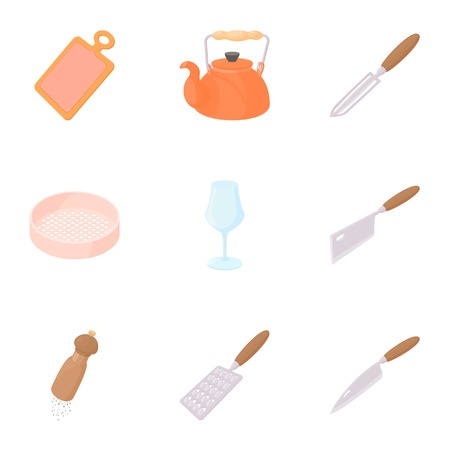 Food dishes icons set. Cartoon illustration of 9 food dishes vector icons for web