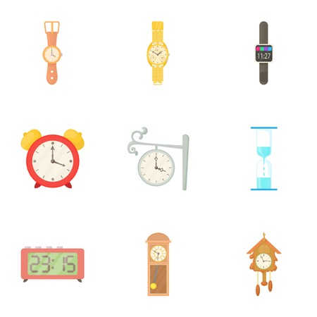 cuckoo clock: Time dimension icons set. Cartoon illustration of 9 time dimension vector icons for web