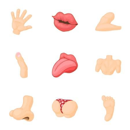 sniff: Outer part of body icons set. Cartoon illustration of 9 outer part of body vector icons for web Illustration