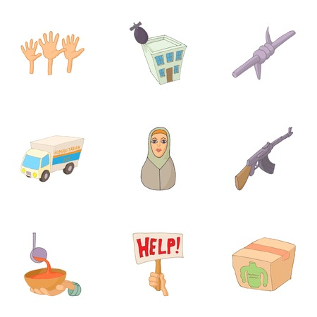 poverty: Refugee status icons set. Cartoon illustration of 9 refugee status vector icons for web