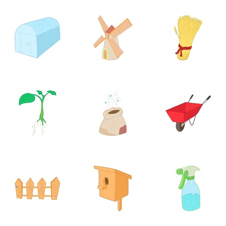 Care garden icons set. Cartoon illustration of 9 care garden vector icons for web