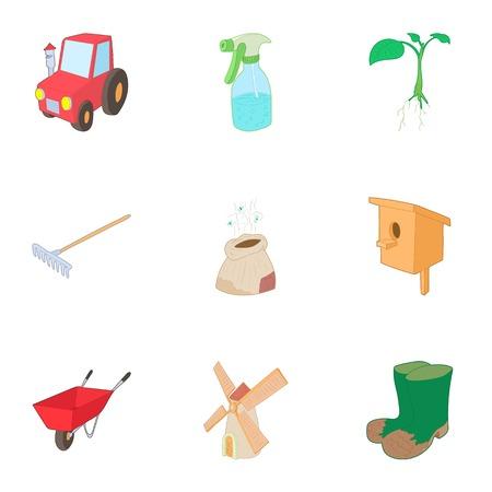 Gardening icons set. Cartoon illustration of 9 gardening vector icons for web
