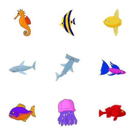 Marine fish icons set. Cartoon illustration of 9 marine fish vector icons for web