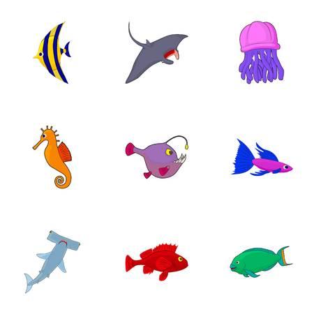 Ocean fish icons set. Cartoon illustration of 9 ocean fish vector icons for web Illustration
