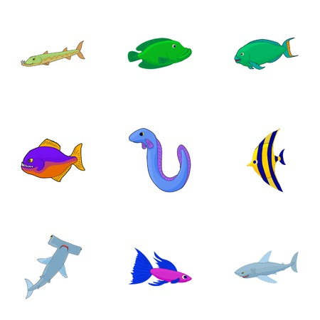 saltwater eel: Tropical fish icons set. Cartoon illustration of 9 tropical fish vector icons for web