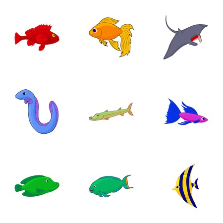 Inhabitants of sea icons set. Cartoon illustration of 9 inhabitants of sea vector icons for web