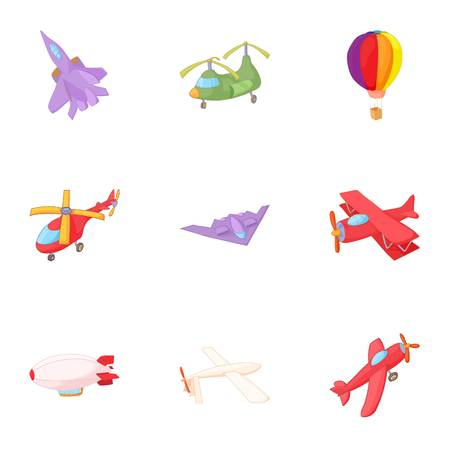 Flying device icons set. Cartoon illustration of 9 flying device vector icons for web Illustration