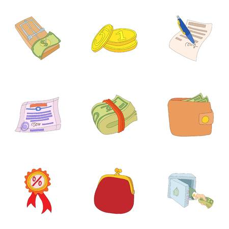 Wherewithal icons set. Cartoon illustration of 9 wherewithal vector icons for web Illustration