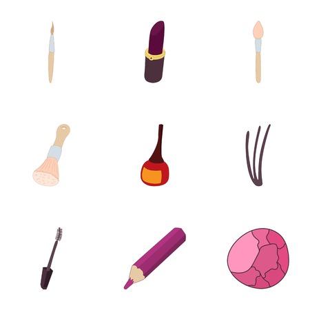 Women cosmetics icons set. Cartoon illustration of 9 women cosmetics vector icons for web