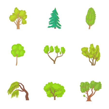 sycamore: Trees icons set. Cartoon illustration of 9 trees vector icons for web