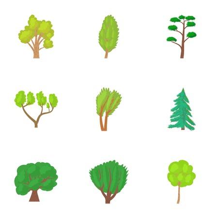 vista: Varieties of trees icons set. Cartoon illustration of 9 varieties of trees vector icons for web Illustration
