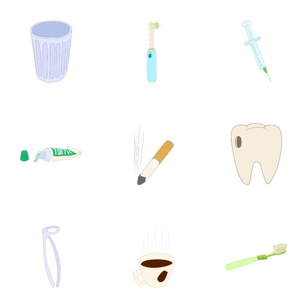 toothache: Toothache icons set. Cartoon illustration of 9 toothache vector icons for web Illustration