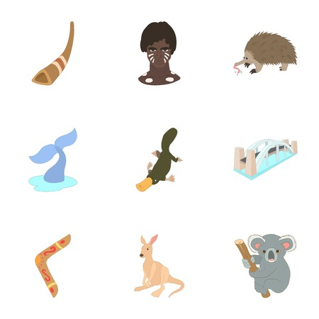 platypus: Attractions of Australia icons set. Cartoon illustration of 9 attractions of Australia vector icons for web
