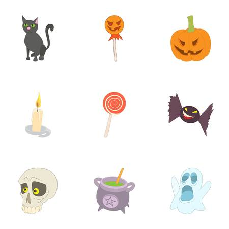 all saints day: All saints day icons set. Cartoon illustration of 9 all saints day vector icons for web Illustration