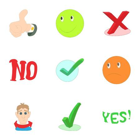 yes no: Yes no button icons set. Cartoon illustration of 9 yes no button vector icons for web Illustration