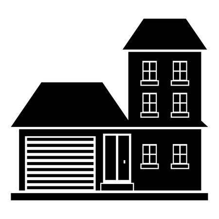 Big house with garage icon. Simple illustration of house vector icon for web design