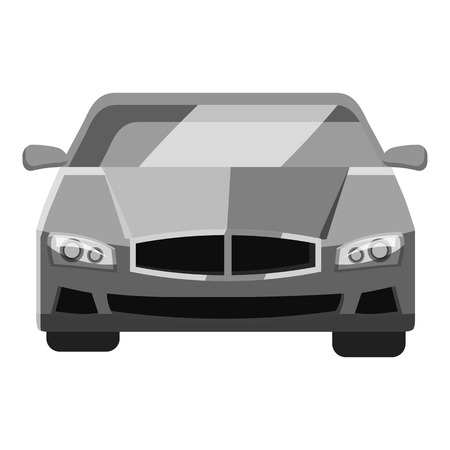 bolide: Car front view icon. Gray monochrome illustration of car vector icon for web design
