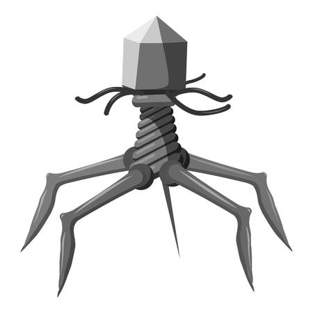 helical: Complex viral shape icon. Gray monochrome illustration of bacteria vector icon for web design