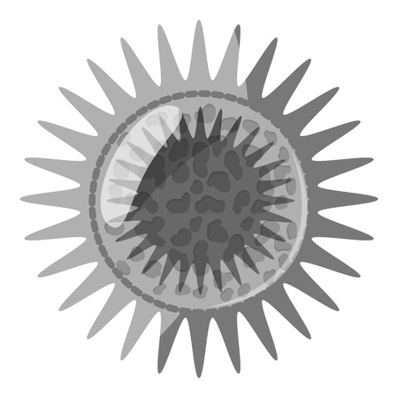 Round bacteria icon. Gray monochrome illustration of bacteria vector icon for web design Illustration