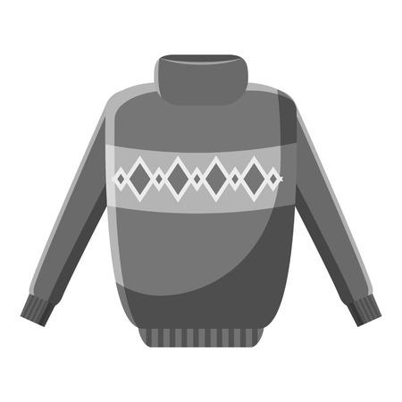 Winter warm jumper icon. Gray monochrome illustration of jumper vector icon for web design