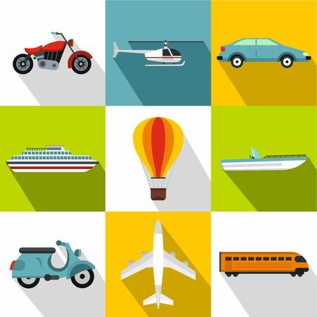 Transport icons set. Flat illustration of 9 transport vector icons for web Illustration