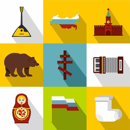 Country Russia icons set. Flat illustration of 9 country Russia vector icons for web