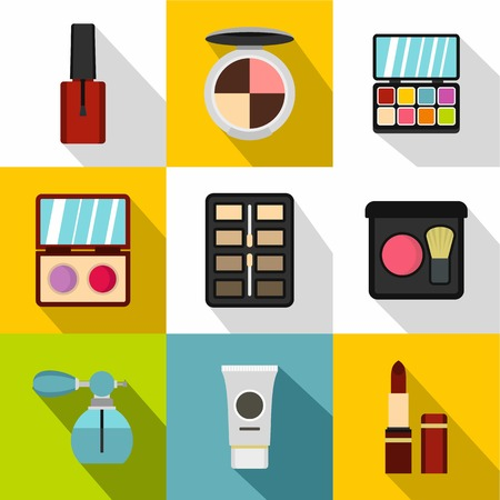 perfume atomizer: Cosmetics icons set. Flat illustration of 9 cosmetics vector icons for web