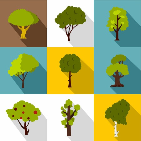 Trees icons set. Flat illustration of 9 trees vector icons for web Illustration