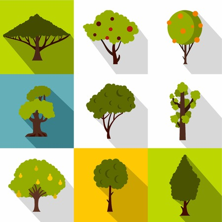 vista: Types of trees icons set. Flat illustration of 9 types of trees vector icons for web