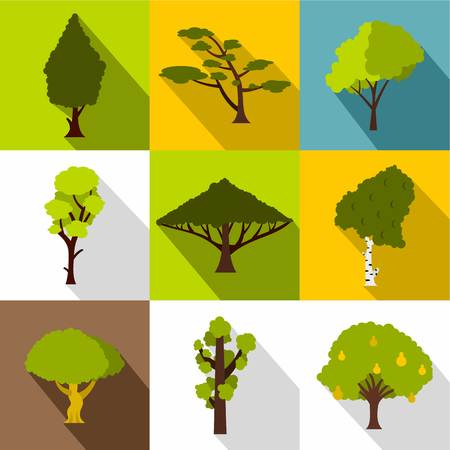 vista: Arboreal plant icons set. Flat illustration of 9 arboreal plant vector icons for web