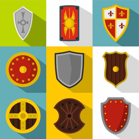 combatant: Shield icons set. Flat illustration of 9 shield vector icons for web Illustration